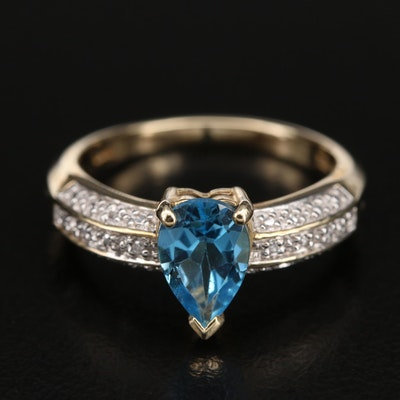 10K Swiss Blue Topaz and 0.03 CTW Diamond Ring