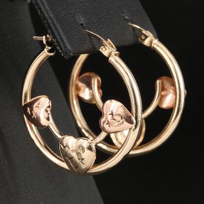 10K Two-Tone Triple Heart Hoop Earrings