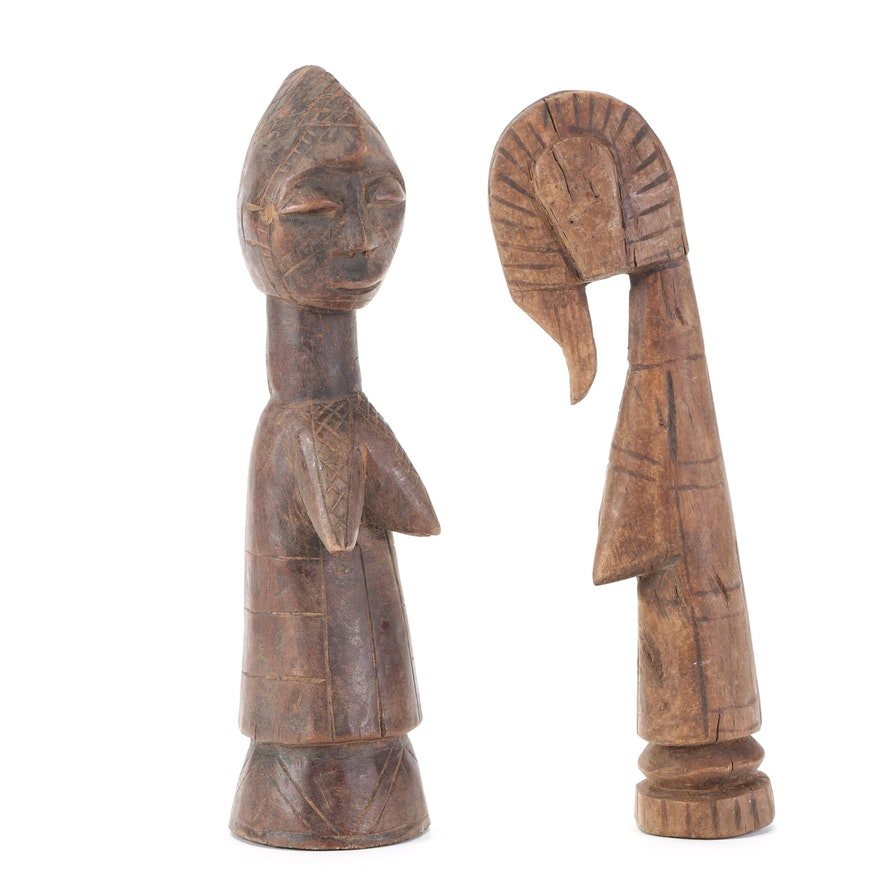 Mossi Style Hand-Carved Wood Figures, West Africa