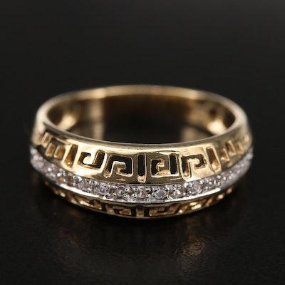 Sterling Zircon Greek Key Ring