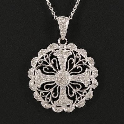 14K Diamond Patonce Cross Necklace
