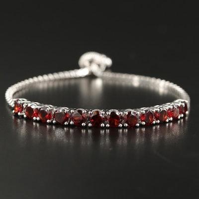 Sterling Garnet and Diamond Bolo Bracelet