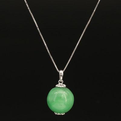 Sterling Jadeite Bead Pendant Necklace