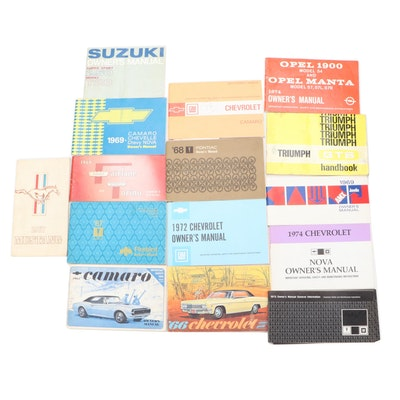 Automobile Owners Manuals Including Triumph, Camaro, Nova, Firebird and More