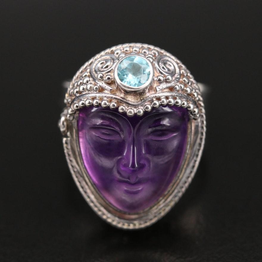 Sajen Sterling Amethyst and Apatite Goddess Locket Ring