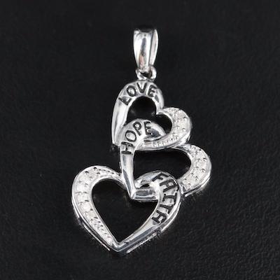 Sterling Love, Hope and Faith Interlocking Hearts Pendant