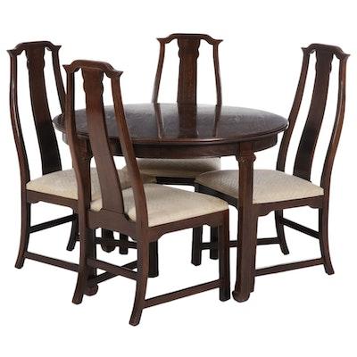 Davis Cabinet Chinese Style Five-Piece Oak Dining Set, Late 20th Century