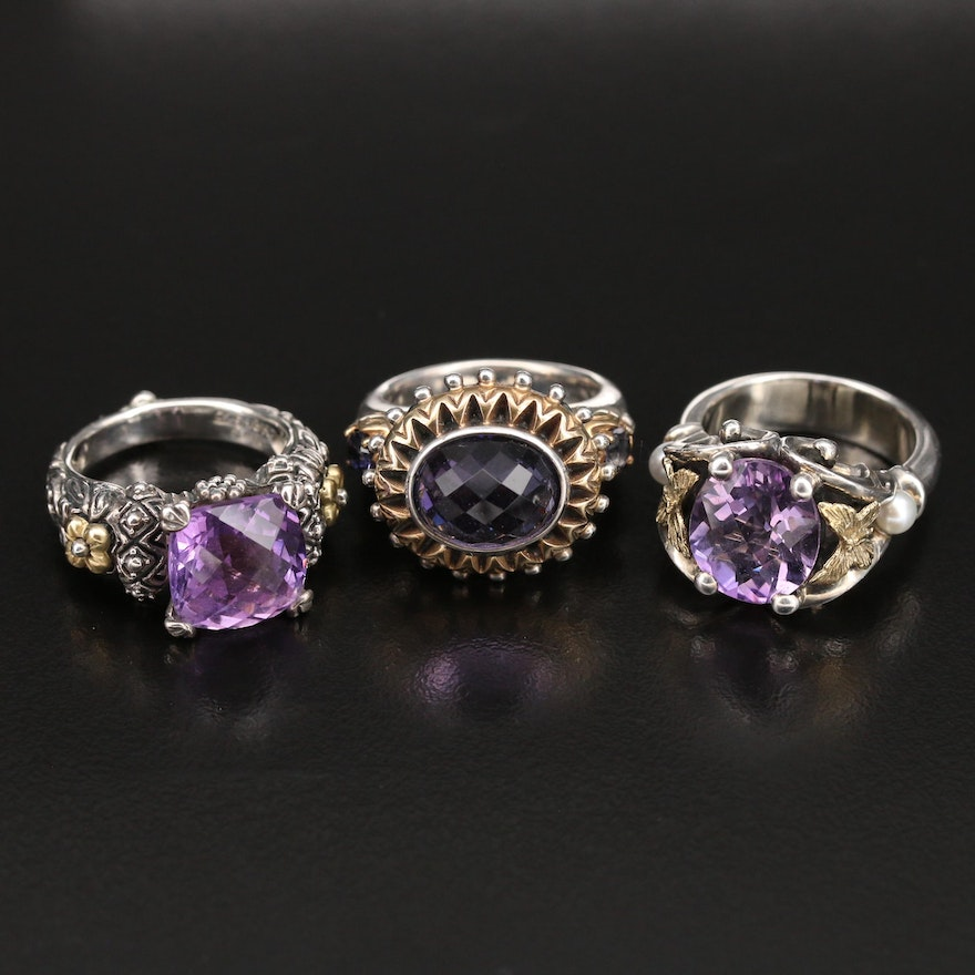 Barbara Bixby and Ann King Sterling Amethyst Rings with 18K Accent