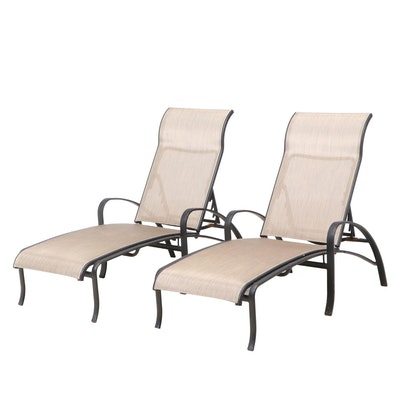 Pair of Tropitone Spinnaker Sling Aluminum Patio Chaise Lounges