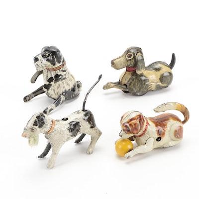 "Marx ""Flipo"" Jumping Dog and Other Tin Litho Dog Toys, Mid-20th Century"