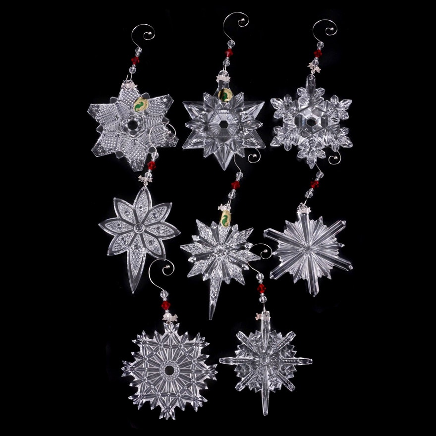 """Waterford Crystal """"Snow Crystal"""" and """"Snow Star"""" Ornaments"""