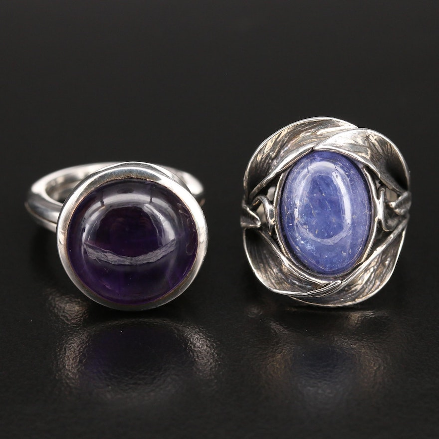 Israelic and Modernist Sterling Rings with Amethyst and Tanzanite