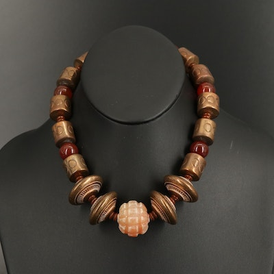 Lois S. Becker Graduated Beaded Carnelian and Quartzite Necklace