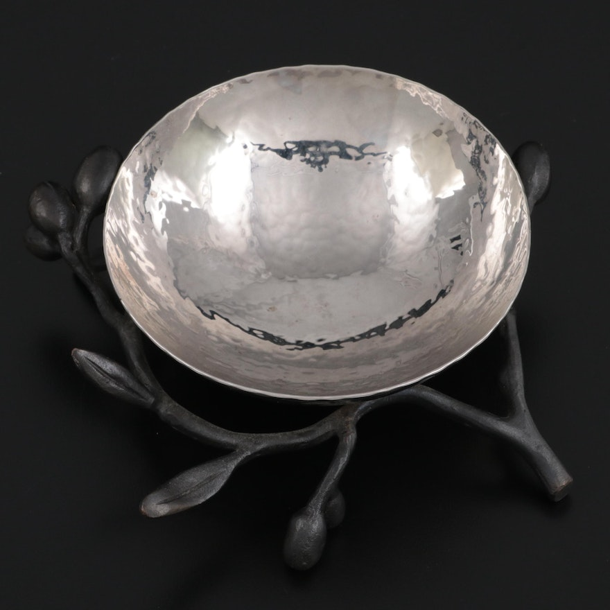 """Michael Aram """"Olive Branch"""" Stainless Steel and Oxidized Brass Serving Bowl"""