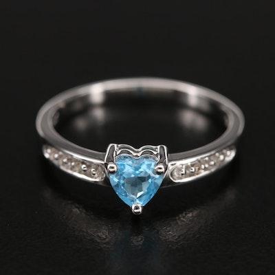 10K Swiss Blue Topaz Heart and Diamond Ring