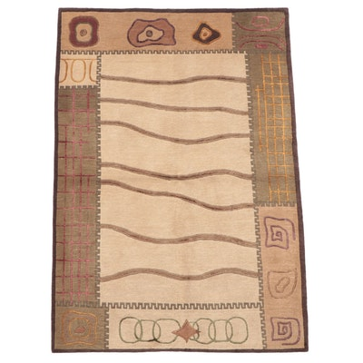4'1 x 6' Hand-Knotted Indian Modern Style Area Rug