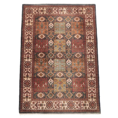 4'1 x 6'1 Hand-Knotted Indian Garden Panel Area Rug