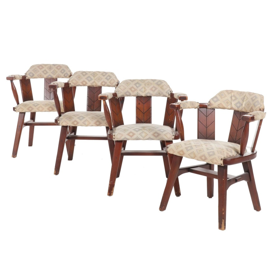Habitant Shops Knotty Pine Chairs with Geometric Upholstery, Mid to Late 20th C.