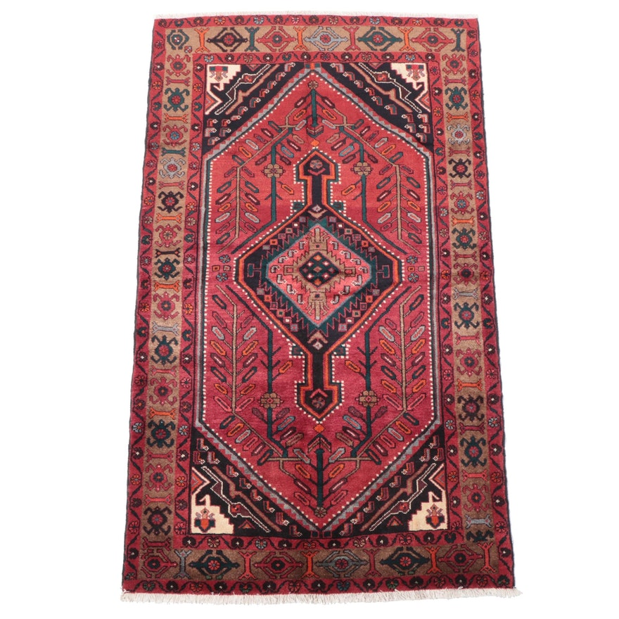 4'7 x 8' Hand-Knotted Persian Hamadan Area Rug