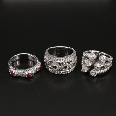Judith Ripka Infinity, Braided Heart, and Ruby Rings Including Sapphire