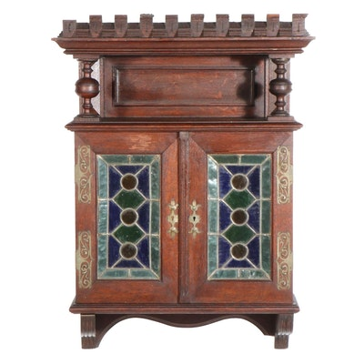 Henry II Style Stained Glass Door Hanging Cupboard