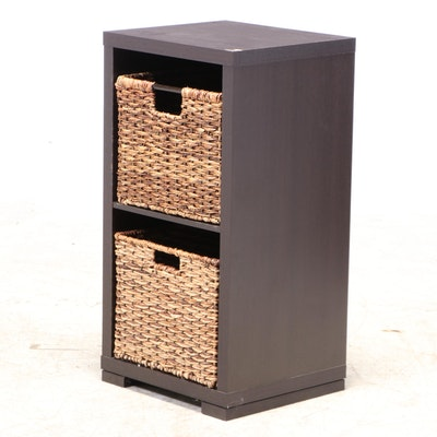 Espresso Finished Open Cabinet with Woven Grass Bins