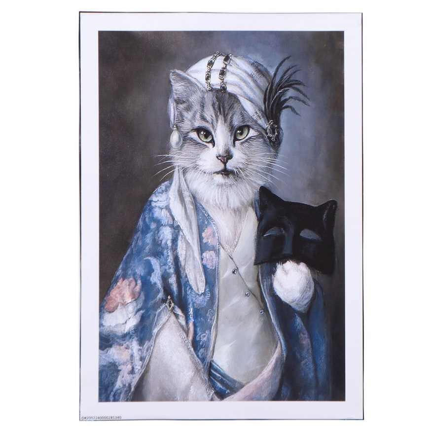 Giclée of an Anthopromorphic Cat in Costume, 21st century