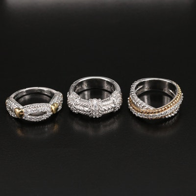 Judith Ripka Sterling Braided Rings with Cubic Zirconia