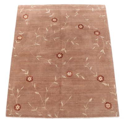 8'1 x 9'10 Hand-Knotted Indian Floral Area Rug
