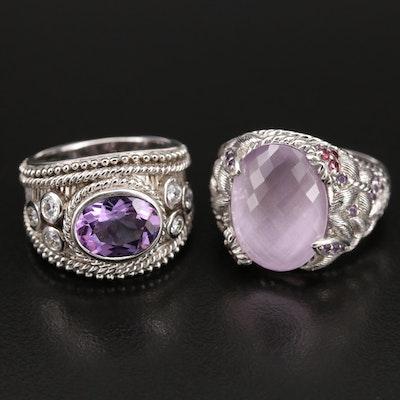 Judith Ripka Sterling Amethyst, Garnet and Cubic Zirconia Rings