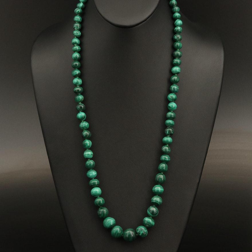 Graduated Malachite Beaded Necklace