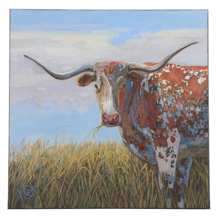 "Monica Cascio Oil Painting ""Lunchtime for Boris,"" 2021"