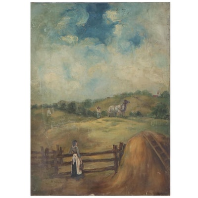 Landscape Oil Painting of Hay Bale and Field, Early 20th Century