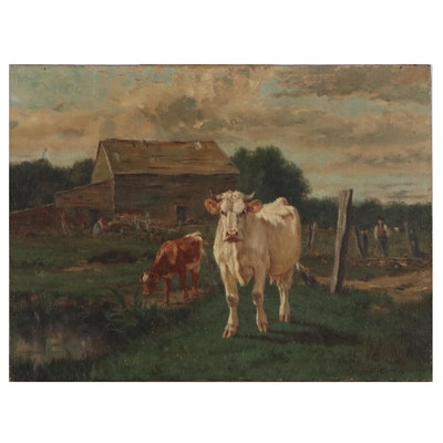 Edward George Sieber Oil Painting of Cow, Circa 1900