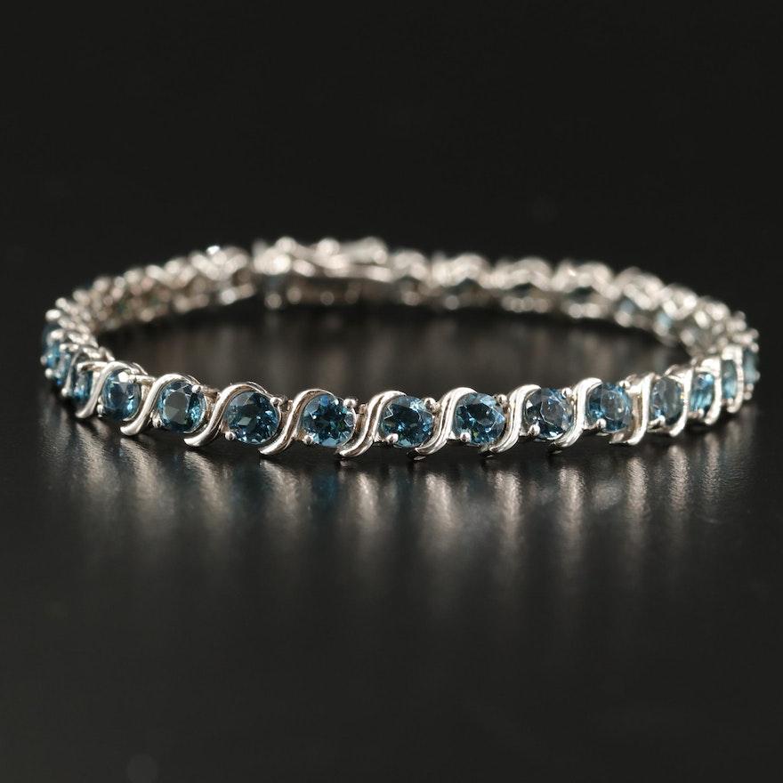 Sterling London Blue Topaz 'S' Link Line Bracelet