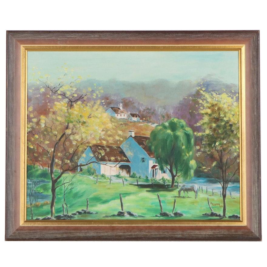 M. Stemm Landscape Oil Painting of House, 1963