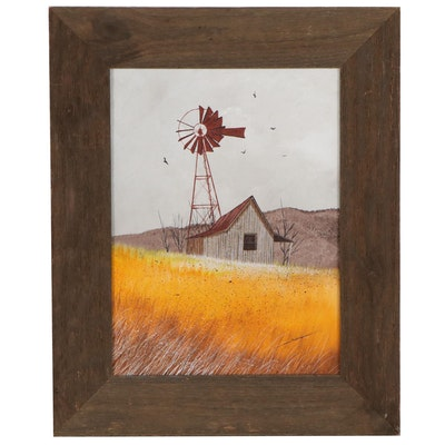 Landscape Oil Painting of Windmill and Cabin, Circa 2000