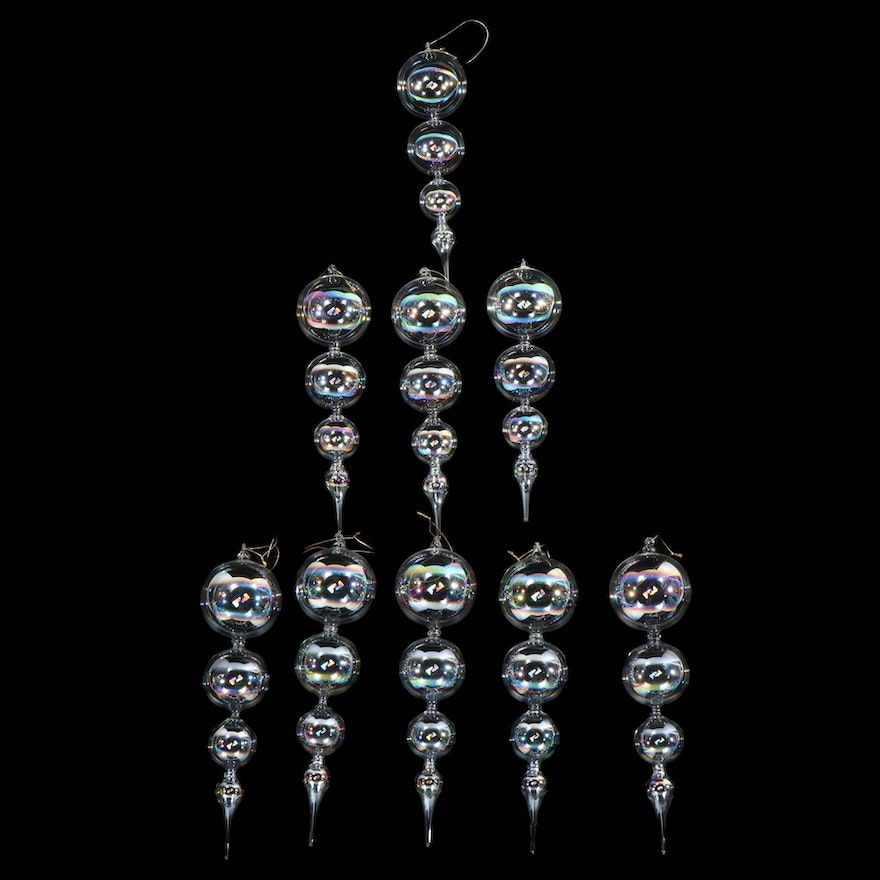 Iridescent Clear Blown Glass Ornaments