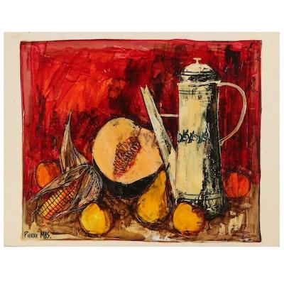 Pierre Mas Still Life Gouache Painting, Late 20th Century