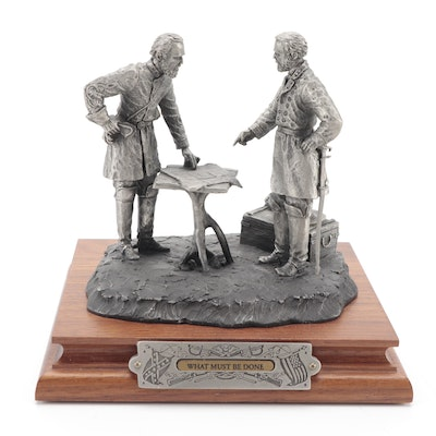 """Francis Barnum for Chilmark """"What Must Be Done"""" Pewter Sculpture, 1998"""