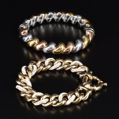 Italian Sterling Tri-Color Clamper and Rhinestone Curb Chain Bracelet
