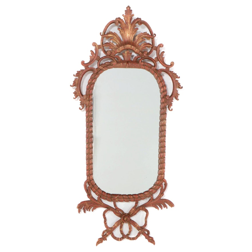 Baroque Style Painted and Parcel-Gilt Composite Mirror, Mid to Late 20th Century
