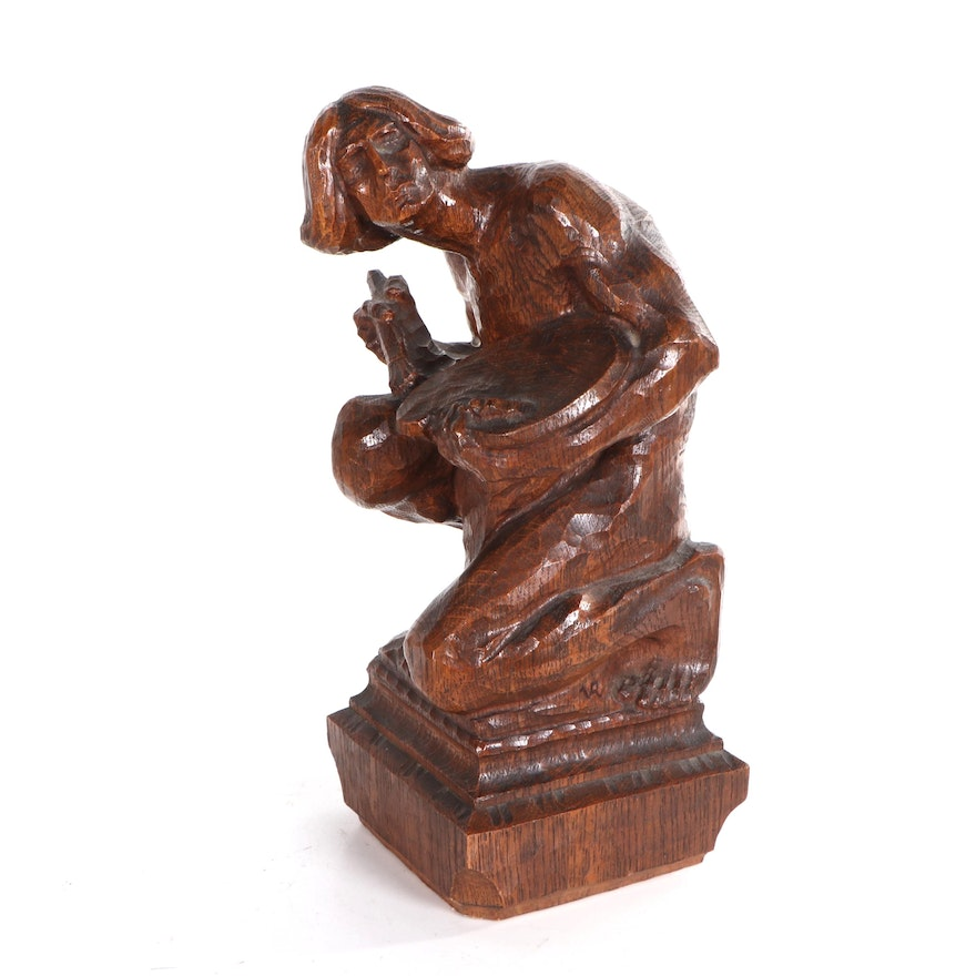 Figurative Wood Sculpture of Seated Painter, Late 20th Century
