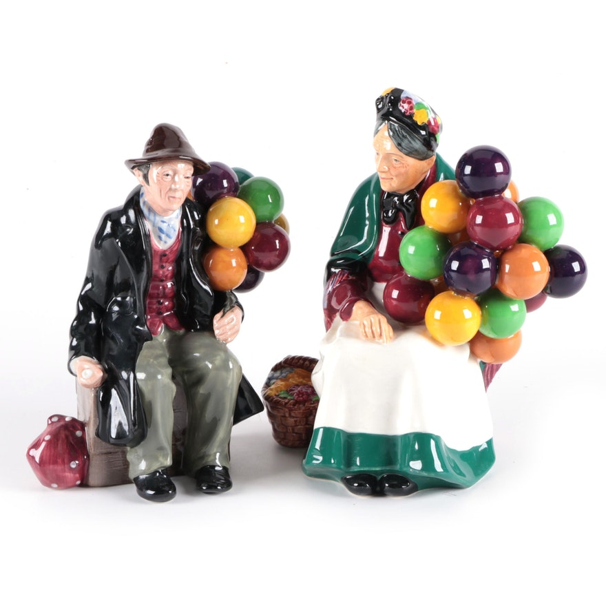 "Royal Doulton ""The Balloon Seller"" and ""The Balloon Man"" Bone China Figurines"