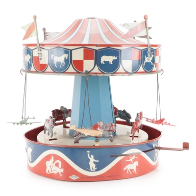 Wolverine Mfg. Co. Tin Litho Wind-Up Carousel, Early to Mid-20th Century