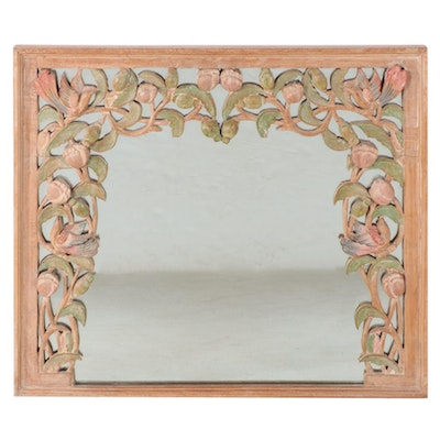Polychrome-Decorated and Carved Hardwood Mirror