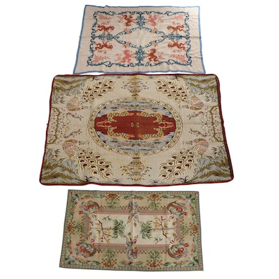 Machine Made Pictorial Area Rug, Needlepoint Rug, and Cross-Stitch Tablecloth