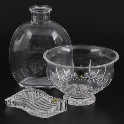 """Waterford Crystal """"Lismore"""" Footed Bowl, Flag Paperweight and Baccarat Decanter"""