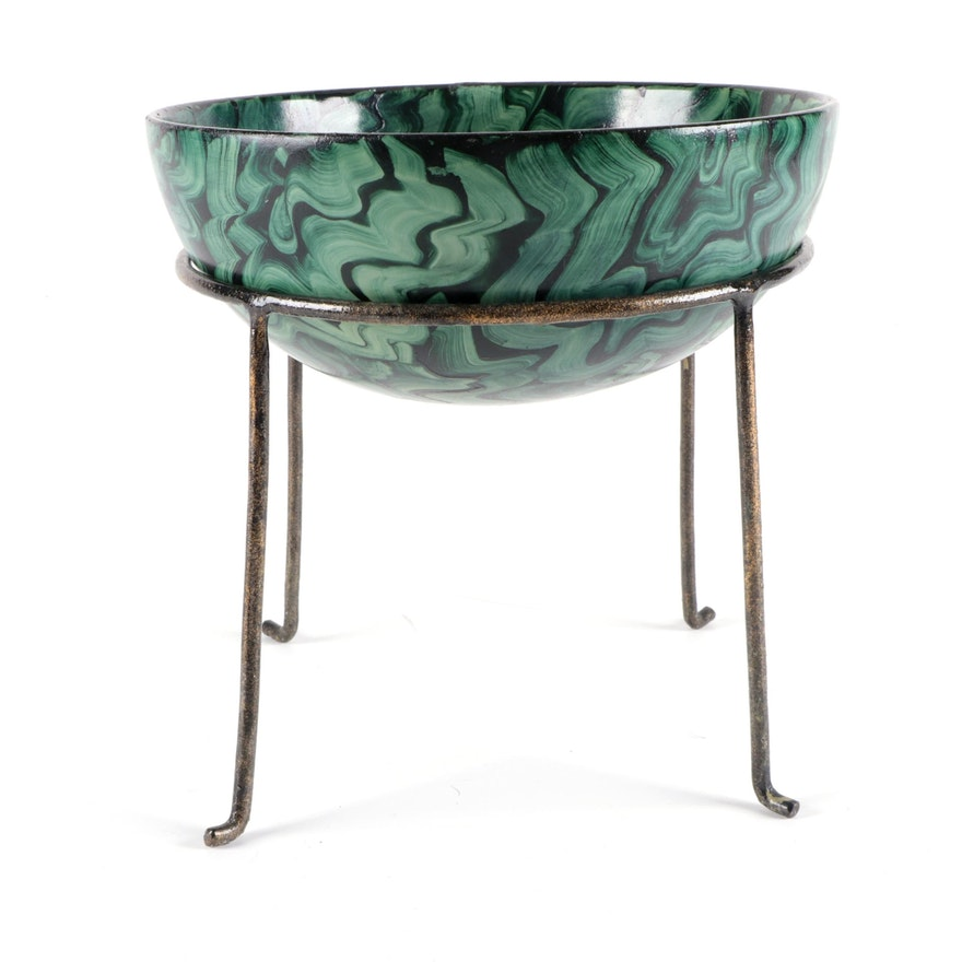 Hand-Painted Green Swirl Ceramic Decorative Bowl on Metal Stand