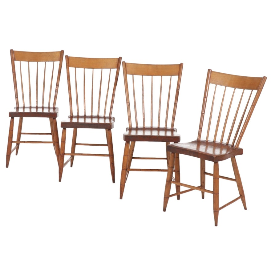 Four American Fan Back Windsor Side Chairs, 19th Century